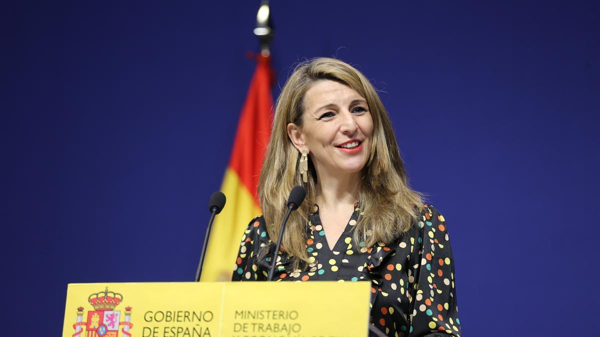 La ministra de Trabajo, Yolanda Díaz, en una rueda de prensa.