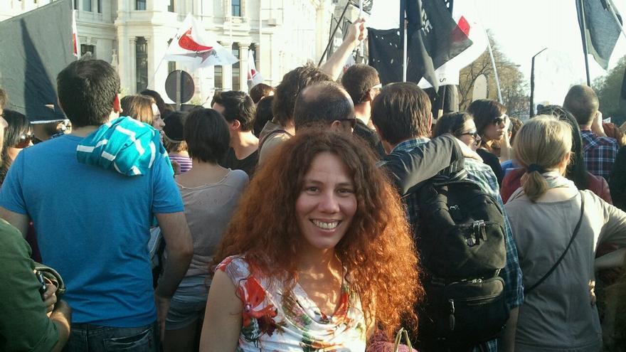 La actriz cubana Dayana Contreras, en una manifestación. | Foto cedida.
