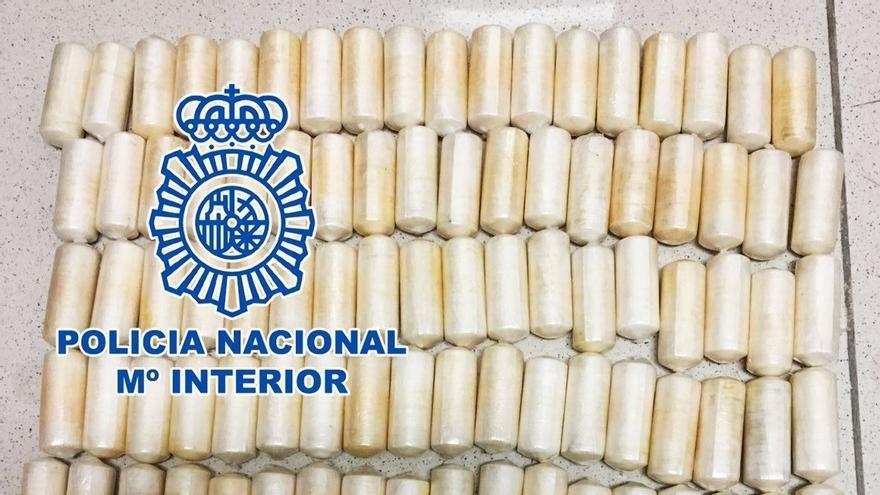 Cápsulas de coca intervenidas por la Policía Nacional