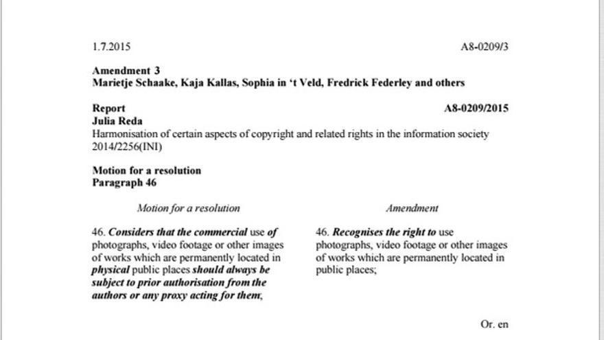 Nueva enmienda a favor de la libertad de panorama