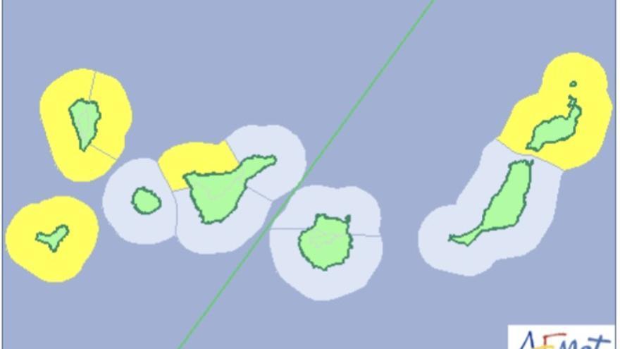 Mapa de la Aemet del aviso del riesgo por fenómenos costero el domingo  y el lunes.