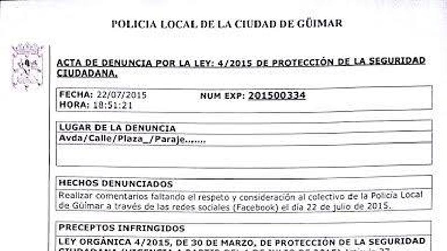 Denuncia de la Policía Local de Güímar en la que se especifican los hechos