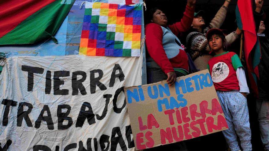 Acto de denuncia por el asesinato del joven campesino indigena Cristian Ferreyra | FOTO: Argeo Kenneth, Comunicación MOCASE Vía Campesina (MOCASE VC)