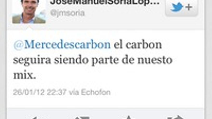 El tuit de Soria en enero, prometiendo larga vida al carbón.
