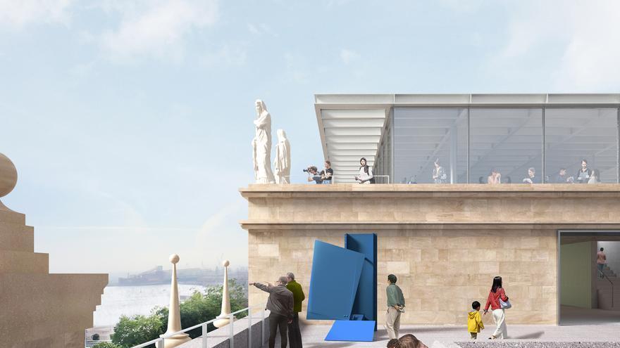 Imagen de la terraza con vistas a la bahía que modificará sustancialmente la cubierta del edificio. | BANCO SANTANDER