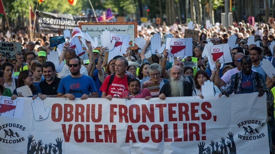 Capcelera de la manifestació a Barcelona