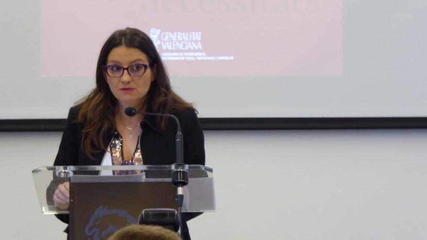 La vicepresidenta del Consell, Mónica Oltra, en la presentación del número 62 de la revista valenciana de estudios autonómicos
