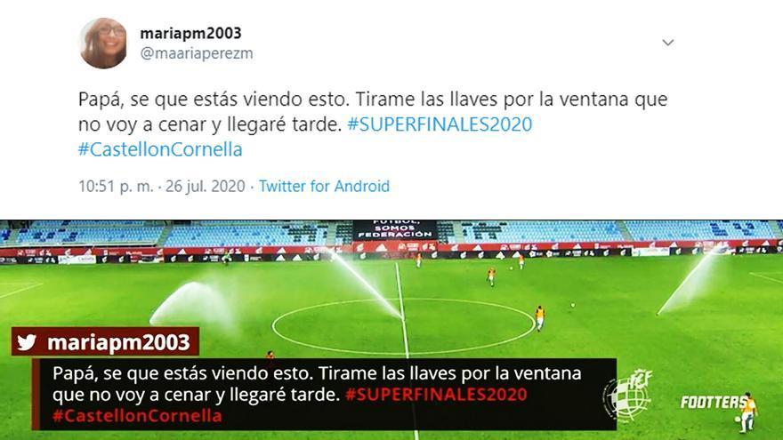 Una chica tuitea a la emisión del Castellón-Cornellá en TV para avisar a su padre de que ha perdido las llaves