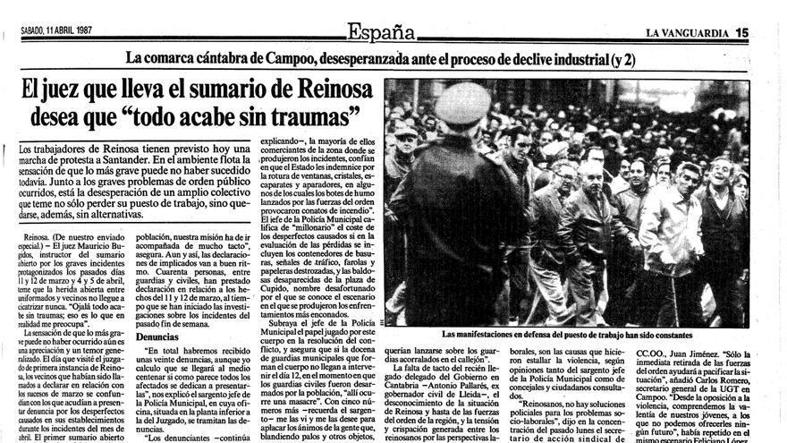 Página del periódico La Vanguardia del 11 de abril de 1987.