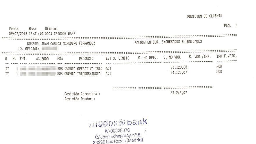 Extractos bancarios difundidos por Juan Carlos Monedero