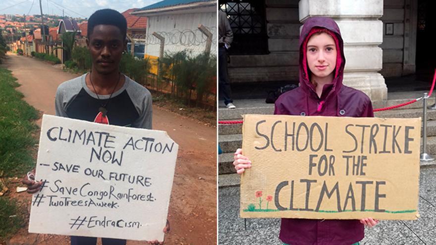Los activistas climáticos Mulindwa Moses y Holly Gillibrand