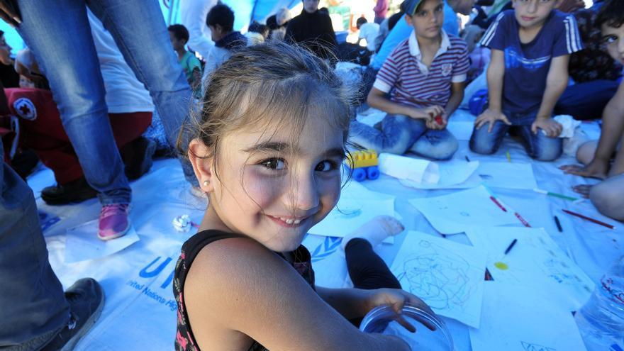 Lamar en el espacio para la infancia de UNICEF en Gevgelija Foto: UNICEF / Tomislav Georgiev