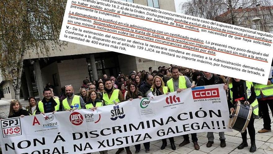 Fragmento de la sentencia y protesta del personal de la administración de justicia durante la huelga que mantuvo el pasado año en Galicia