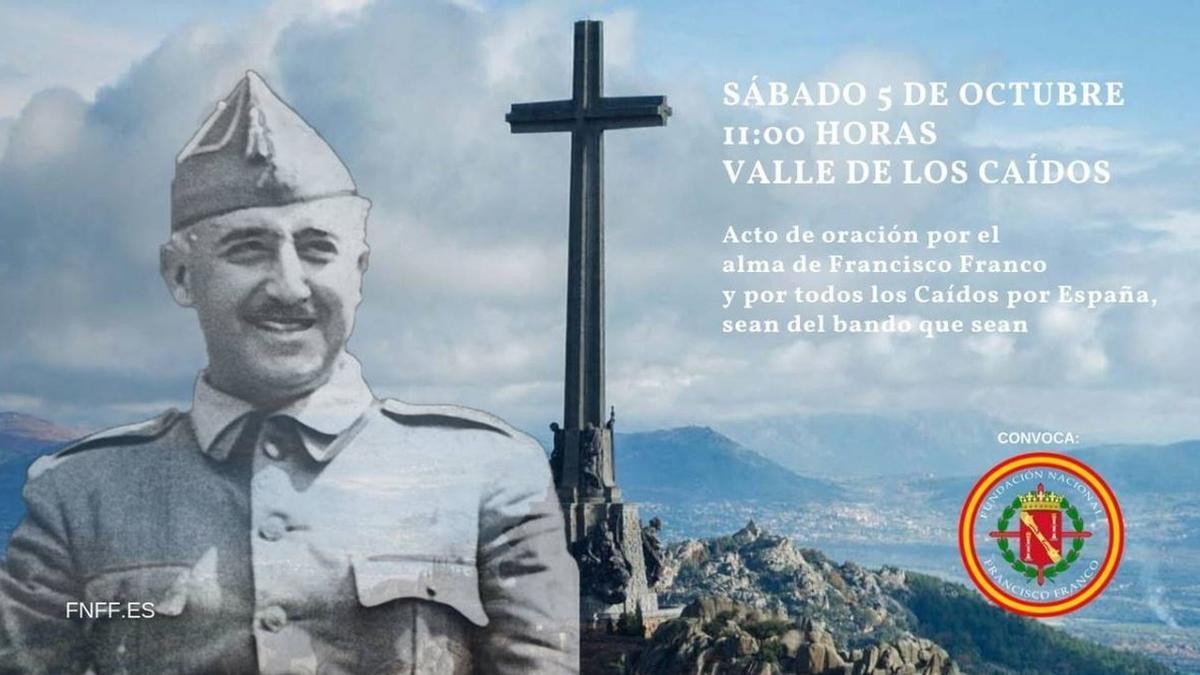 """Cartel de una convocatoria de la Fundación Francisco Franco para una oración colectiva por el """"alma"""" del dictador"""