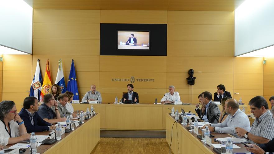 Momento de la reunión celebrada en el palacio insular, en Santa Cruz