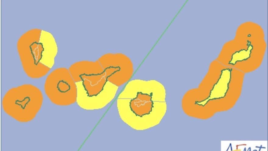 Mapa de la Aemet de riesgo por viento, lluvia y oleaje en Canarias para este miércoles.