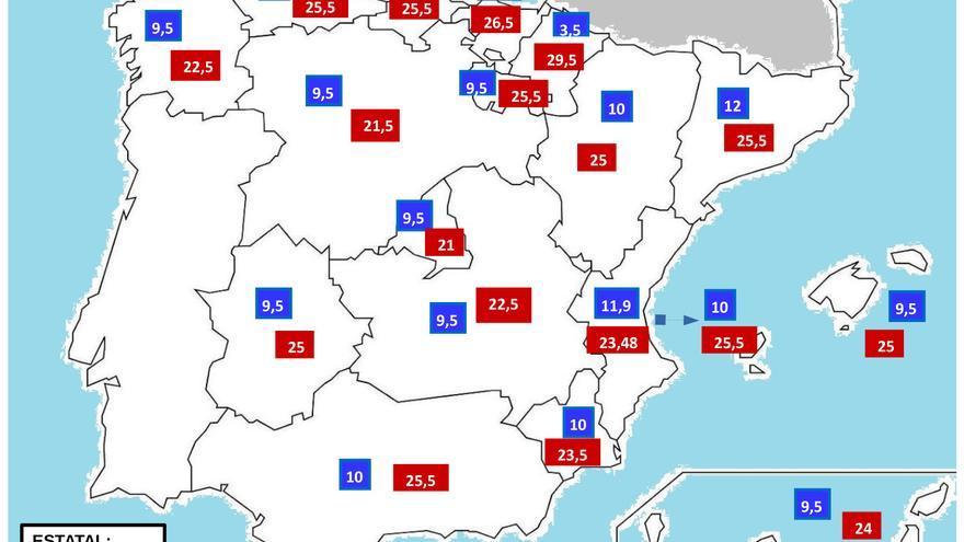 Mapa comparativo de tipos de IRPF en España