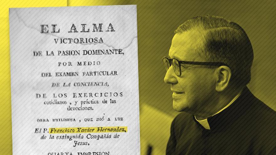 La obra del jesuita Francisco Javier Hernández, El alma victoriosa de la pasión dominante Escrivá de Balaguer, frente a la imagen de José María Escrivá de Balaguer.