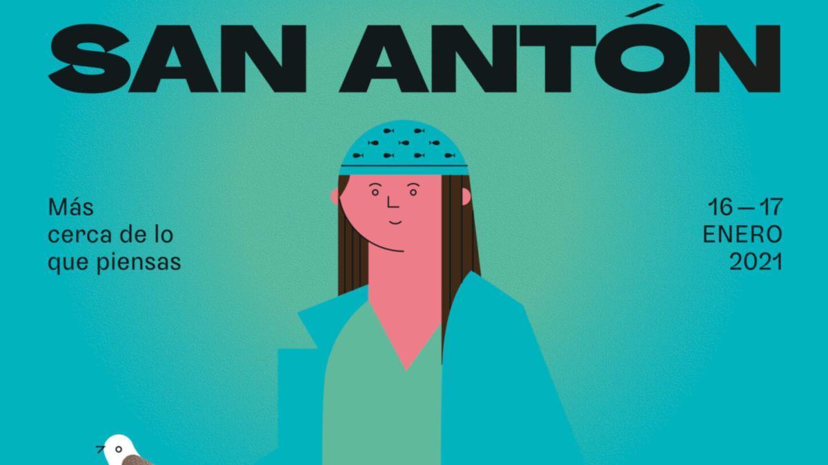 Detalle del cartel de San Antón 2021