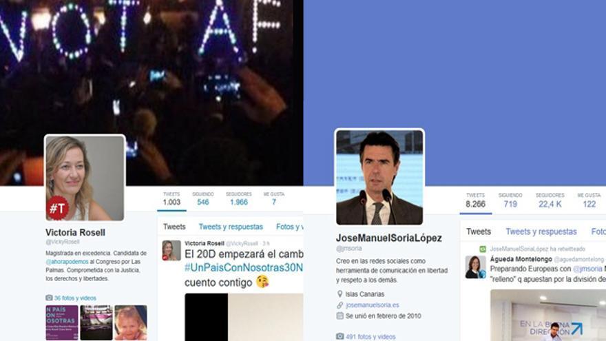 Cuentas de Victoria Rosell y José Manuel Soria en Twitter