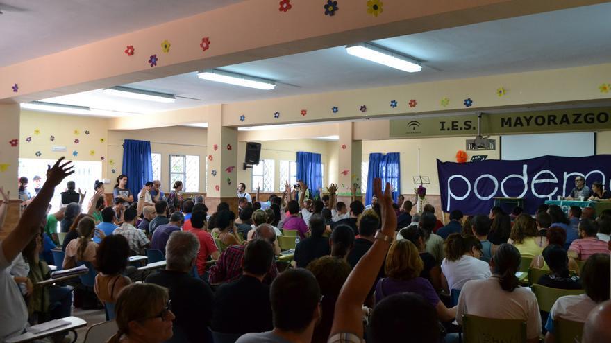 Una imagen de la asamblea celebrado por los círculos andaluces de Podemos // N.C.