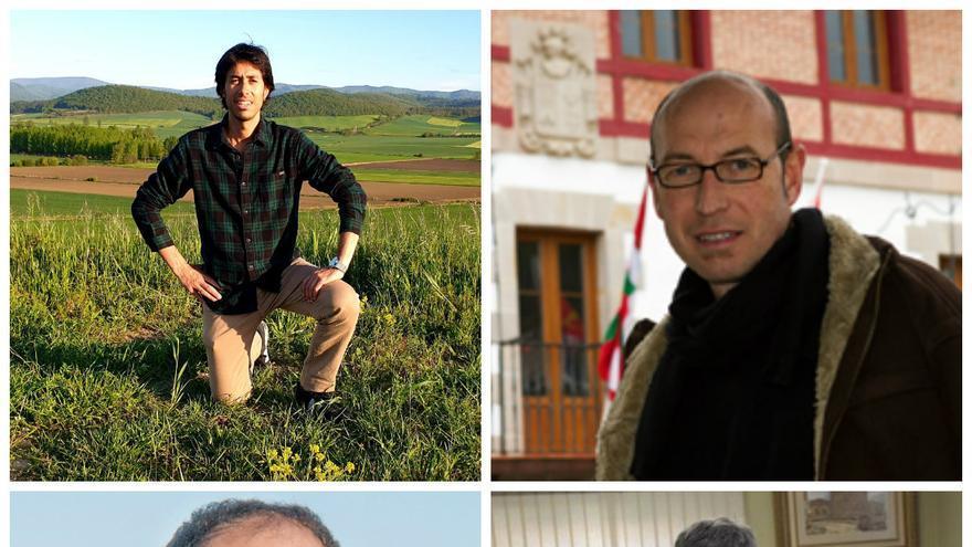 Arriba los alcaldes de Zambrana y Karrantza, abajo el candidato independiente de Hondarribia y el alcalde de Zalla