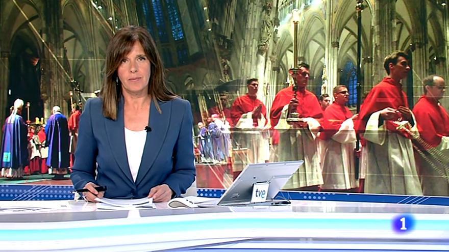 Ana Blanco informa de la audiencia de la Misa en el Telediario