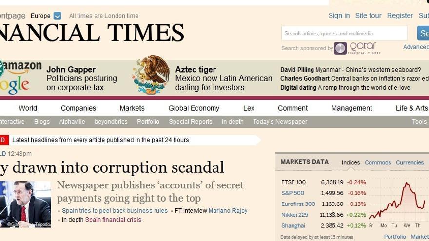 La portada del Financial Times.