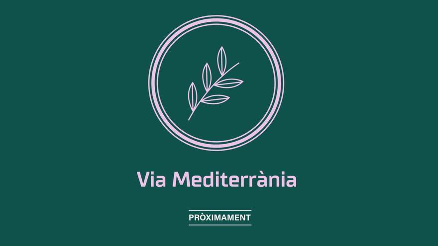 """El dominio de Via Mediterrània con el logo del nuevo partido y el anuncio que de habrá novedades """"próximamente"""""""