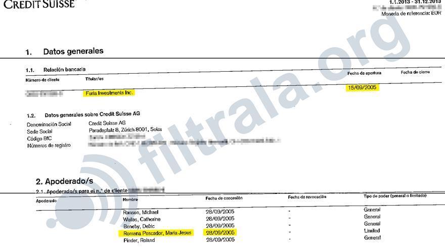 Certificado de titularidad de María Jesús Romaña como apoderada de Furia Investments desde 2005
