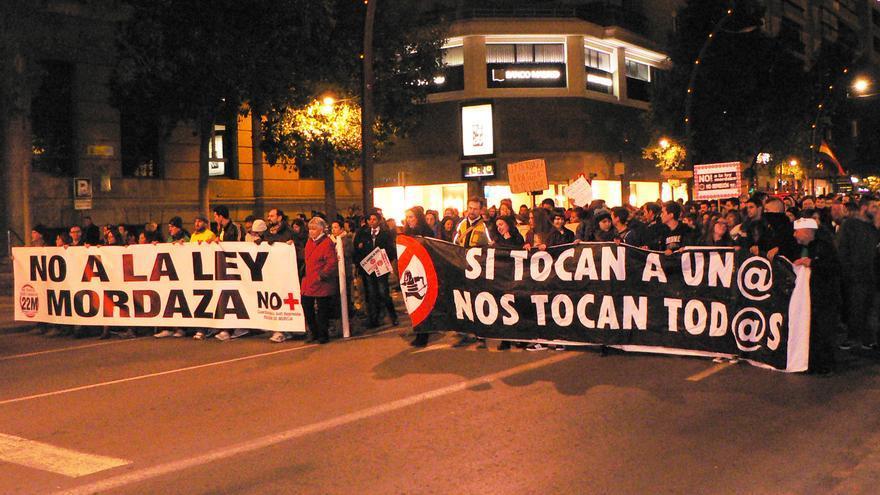Cabecera de la manifestación del sábado en Murcia, contra la llamada 'ley mordaza'
