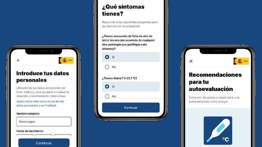 Imágenes de AsistenciaCOVID-19, la app del Gobierno contra el coronavirus