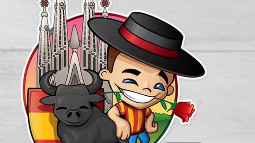 El 'sticker' de la discordia: con sombrero cordobés, un toro y, de fondo, la Sagrada Familia