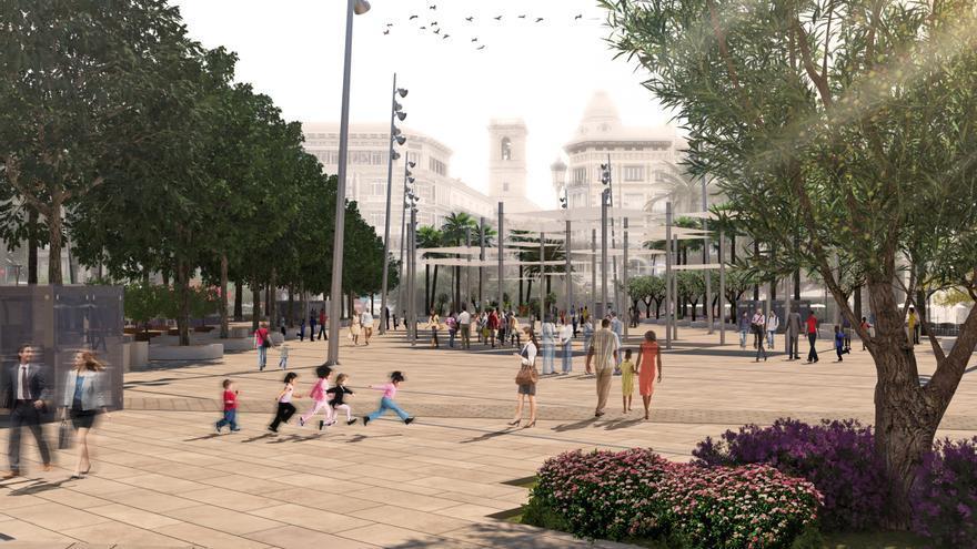 Figuración de la plaza de la Reina con la calle San Vicente de fondo