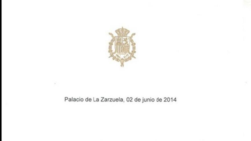 La carta de abdicación que el Rey ha entragado al presidente del Gobierno.