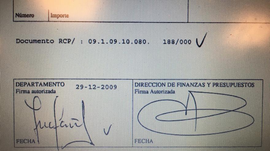 Documento enviado en 2010 por la Diputación con todas las firmas