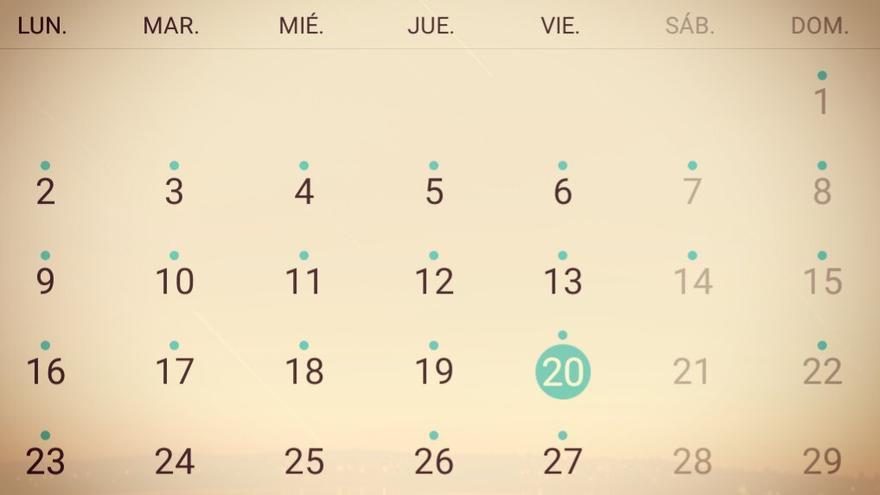 Este viernes, 20 de marzo de 2020, señalado en un calendario.