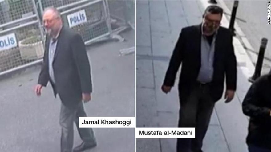 Imagen publicada por la CNN que muestra, a la izquierda, al periodista asesinado y, a la derecha, al presunto operativo saudí.