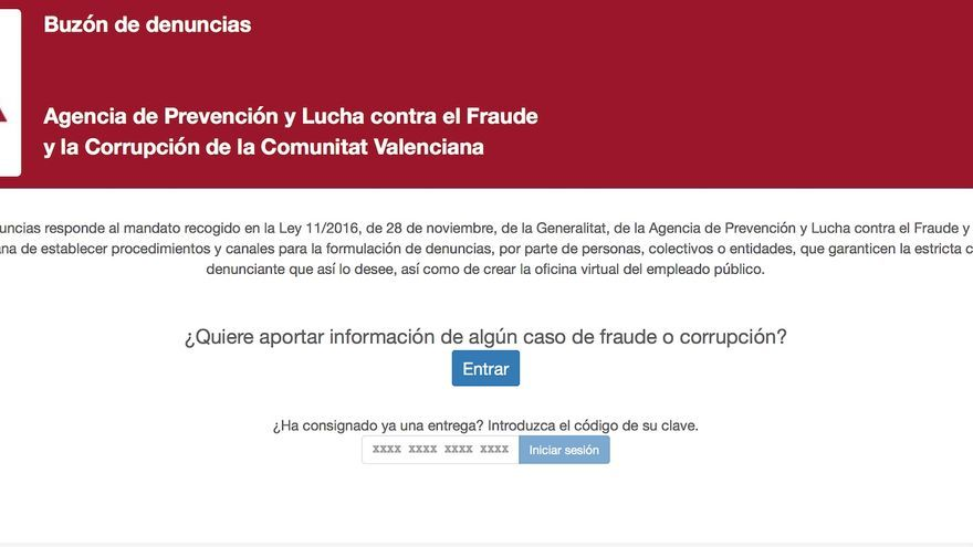 Buzón de denuncias de la Agencia Valenciana Antifraude.