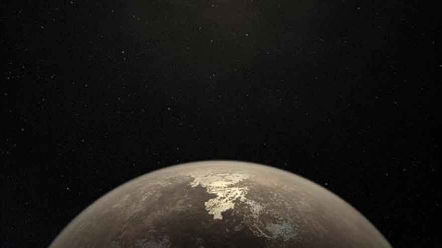 Impresión artística que muestra el planeta templado Ross 128 b con su estrella enana roja al fondo. Crédito: ESO/M. Kornmesser.