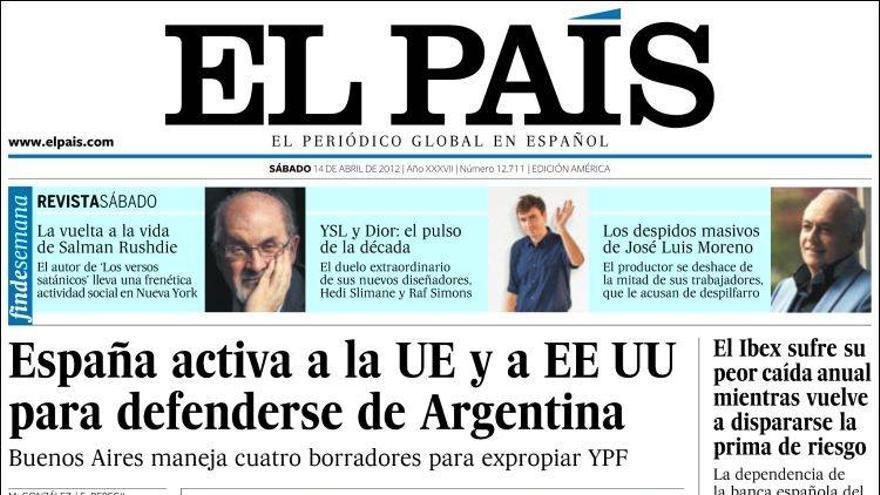 Portada de El País, 14 de abril de 2012.