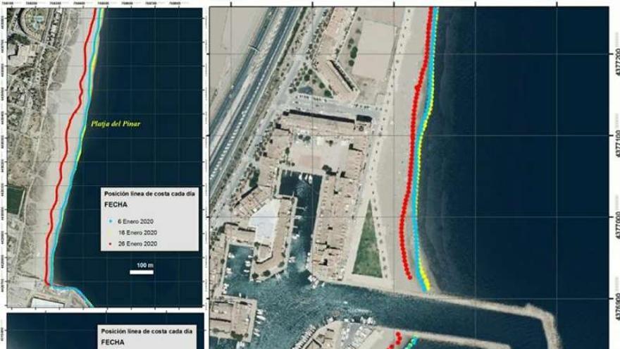Imagen de satélite sobre las líneas de retroceso de la costa