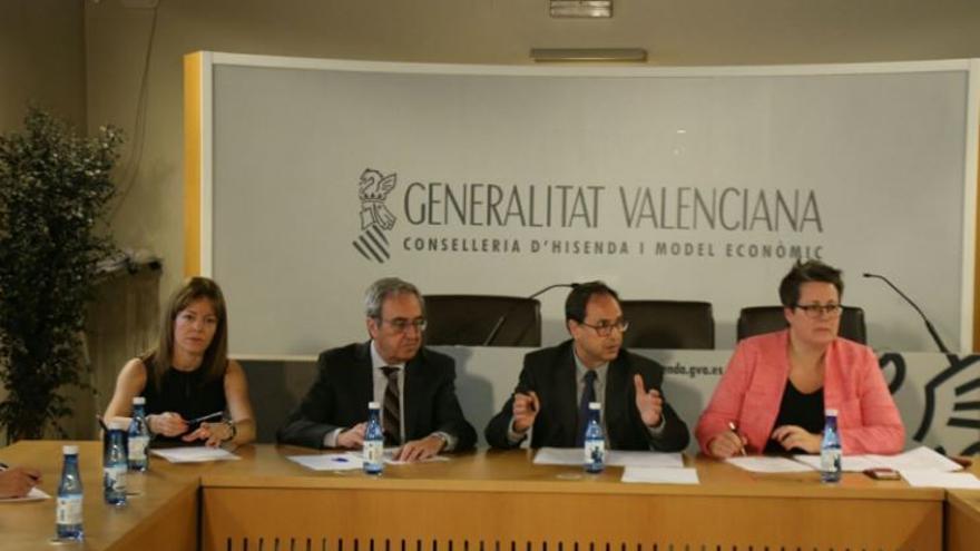 Clara Ferrando, Francisco Pérez, Vicent Soler y Maria José Mira en la comisión mixta por la reforma de la financiación autonómica