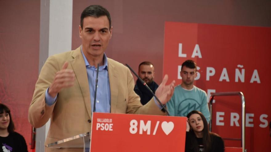 Pedro Sánchez durante el acto del PSOE en Valladolid