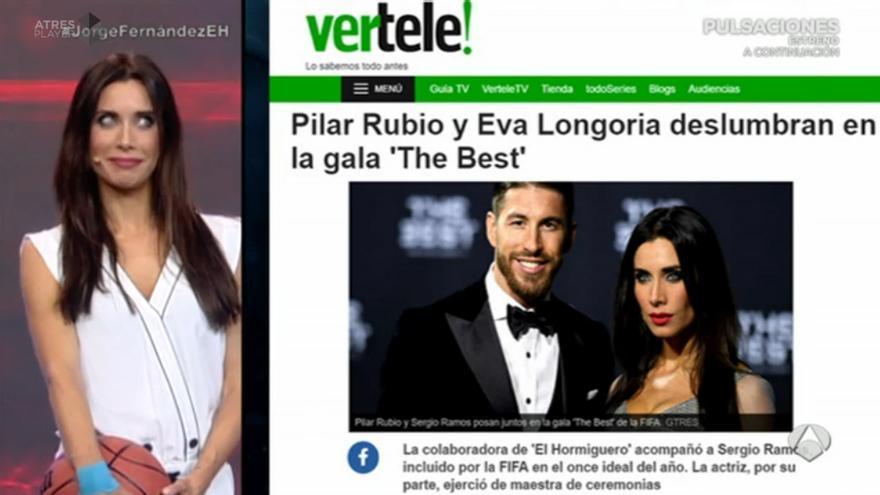 Pilar Rubio en El Hormiguero citando a Vertele