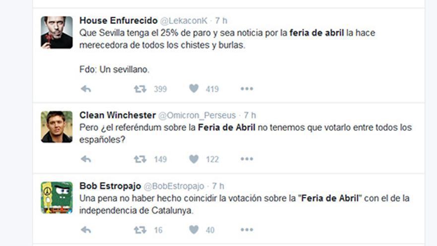 'Tuits' alusivos a la consulta ciudadana sobre la ampliación de la Feria de Abril.