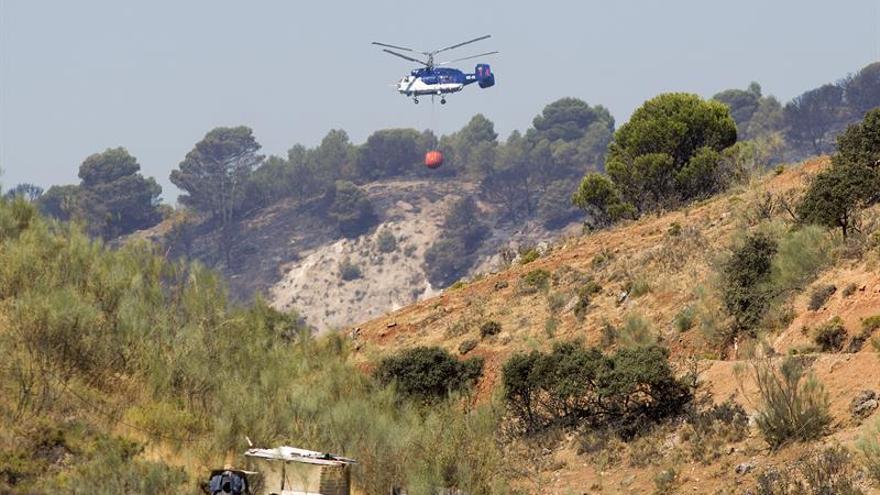 Continúa activo y sin estabilizar el incendio forestal en Archidona (Málaga)