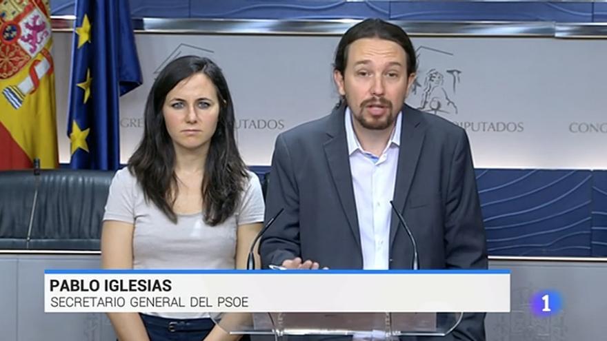 TVE rotula por error a Pablo Iglesias como secretario general del PSOE.