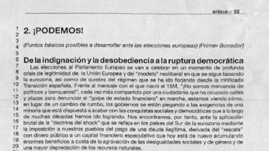 Boletín interno de Izquierda Anticapitalista donde se prepara el camino a Podemos, el movimiento encabezado por Pablo Iglesias.