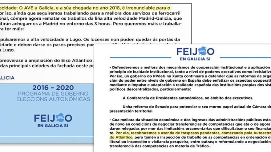 Menciones al traspaso de la AP-9 y a la llegada del AVE en el programa electoral de Feijóo